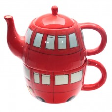Fun Novelty Routemaster Red Bus Teapot and Cup Set for