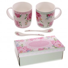 Chintz Design New Bone China Mug Set for 2 with Spoons