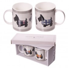 Cute Scottie Dogs Set of 2 New Bone China Mugs