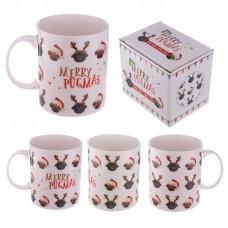 Christmas New Bone China Mug - Christmas Pugs Design