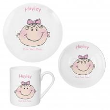 Personalised Baby Girl Breakfast Set