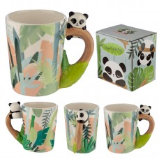 Cute Collectable Panda Shaped Handle Ceramic Mug